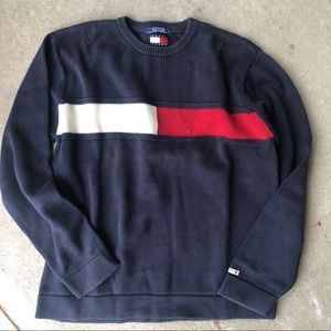 Vintage Tommy jeans color block logo sweater L